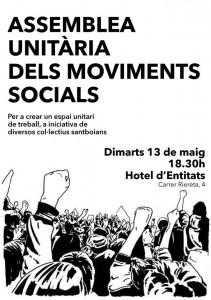 Cartell de l'assemblea de la plataforma unitària 'Sant Boi en lluita'. // Assemblea Aturats de Sant Boi