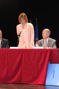 Lluïsa Moret en el moment de la presa de possessió com a nova alcaldessa // Maria Roda