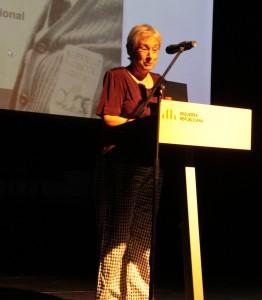 Montse Sanchez, coordinadora de Súmate al Baix Llobregat va demanar valentia a tothom el 9N. // Maria Roda