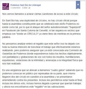 Captura de Pantalla del Facebook del primer círculo donde explican su versión de la duplicidad. // Maria roda