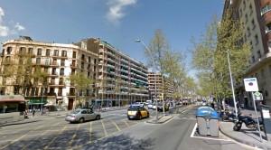 La Gran Via de les Corts Catalanes, entre la Campana i plaça Espanya acollirà els independentistes del Baix Llobregat // Google Maps