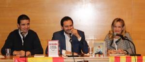 Manuel Bolaño, secretario provincial de Barcelona, Fernando Sanchez Costa, diputado del PP en el Parlament y Marina Lozano, concejal del Ayuntamiento de Sant Boi fueron los ponentes del acto // Maria Roda