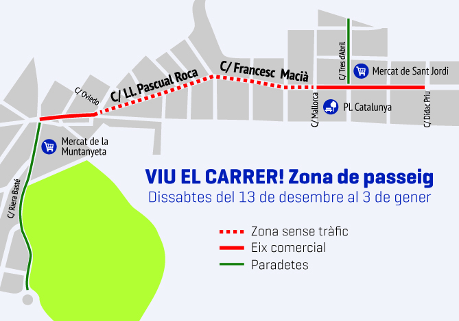 Mapa amb els carrers afectats per la campanya 'Viu el carrer'.