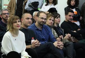 La primera fila amb els co-candidats d'ICV, l'alcadessa Moret, Joan Herrera i el candidat de CiU, Jordi Garcia // Jose Polo