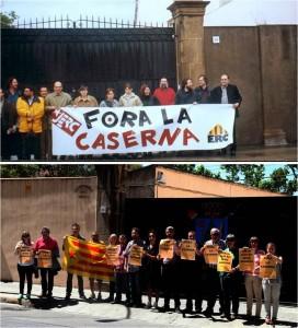 Els militants d'ERC Sant Boi fa 15 anys i ara al davant de la Caserna Militar // ERC Sant Boi