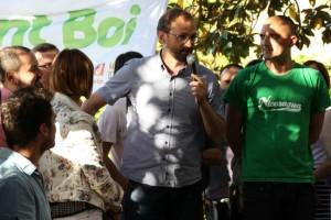 Joan Herrera durant la presentació de la candidatura d'ICV Sant Boi // David Guerrero