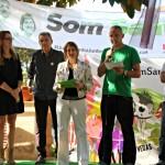 Alba Martínez i Josep Puigdengolas (al centre) acompanyats dels primers de la llista // David Guerrero
