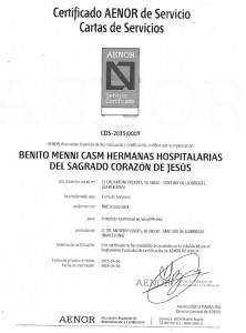Certificado AENOR que acredita la carta de servicios // Benito Menni CASM