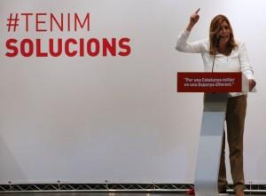 Susana Díaz durante su intervención en el acto del PSC en Can Massallera // David Guerrero