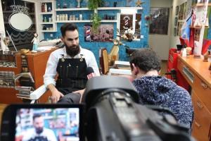Díaz en un momento de la entrevista en La Barbería del Cuartel // José Polo