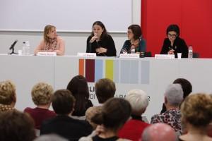 Instant de l'acte de presentació amb les autores i l'alcaldessa Moret // PSC Baix Llobregat