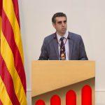 Esteller durant la seva intervenció un cop ha rebut la medalla - Parlament de Catalunya