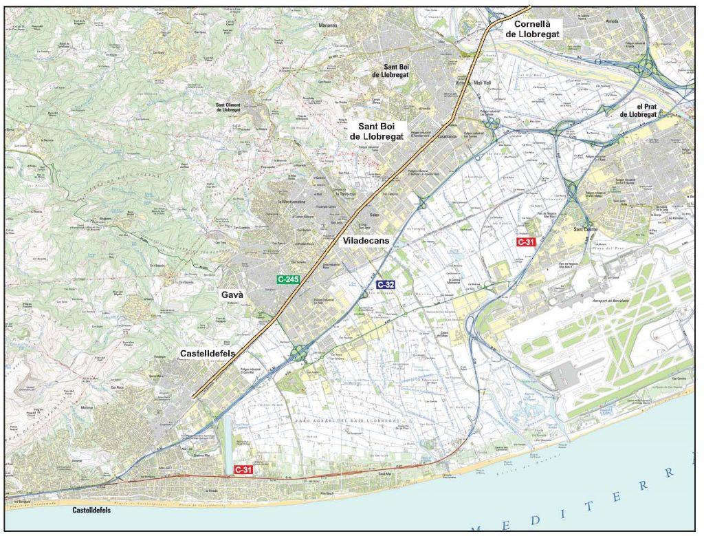 Mapa de la carretera i el tram de la seva remodelació - Generalitat de Catalunya